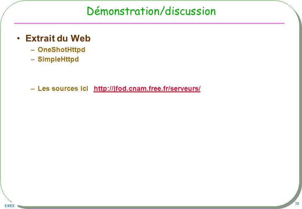 ESIEE 32 Démonstration/discussion Extrait du Web –OneShotHttpd –SimpleHttpd –Les sources ici http://jfod.cnam.free.fr/serveurs/http://jfod.cnam.free.f