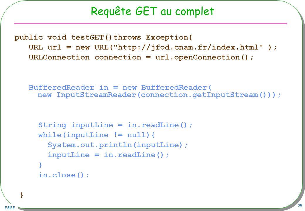 ESIEE 36 Requête GET au complet public void testGET()throws Exception{ URL url = new URL(