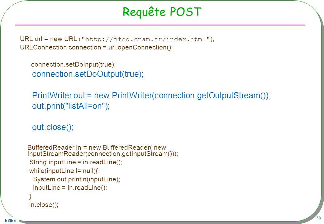 ESIEE 38 Requête POST URL url = new URL (