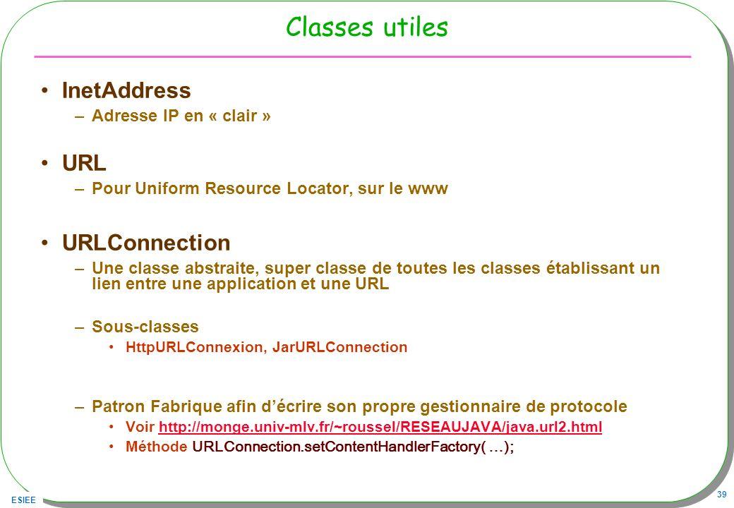 ESIEE 39 Classes utiles InetAddress –Adresse IP en « clair » URL –Pour Uniform Resource Locator, sur le www URLConnection –Une classe abstraite, super