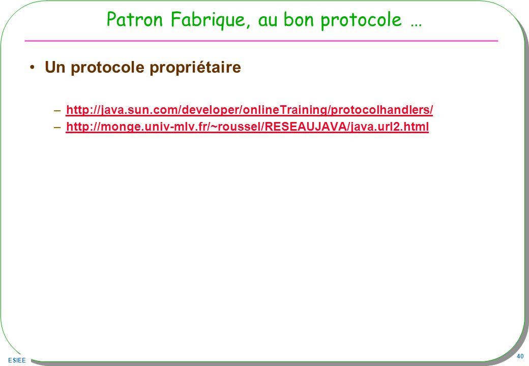 ESIEE 40 Patron Fabrique, au bon protocole … Un protocole propriétaire –http://java.sun.com/developer/onlineTraining/protocolhandlers/http://java.sun.
