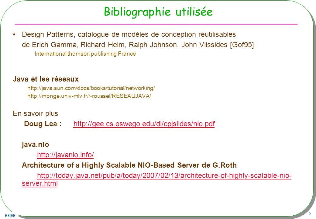 ESIEE 5 Bibliographie utilisée Design Patterns, catalogue de modèles de conception réutilisables de Erich Gamma, Richard Helm, Ralph Johnson, John Vli