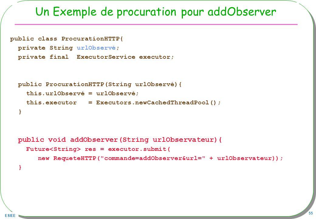 ESIEE 55 Un Exemple de procuration pour addObserver public class ProcurationHTTP{ private String urlObservé; private final ExecutorService executor; p