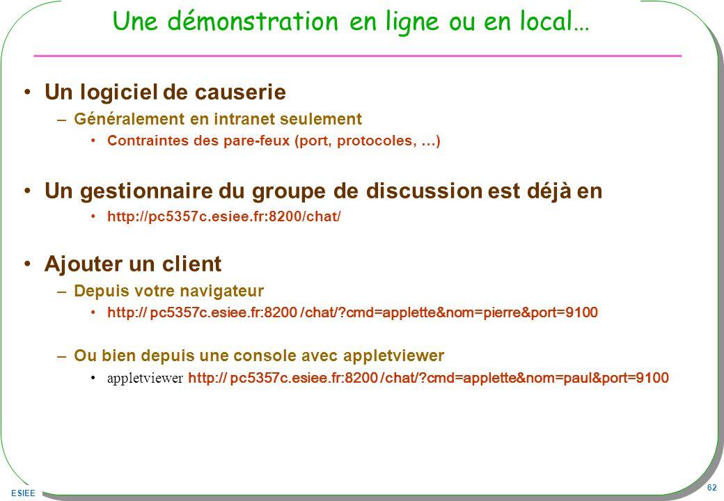 ESIEE 62 Une démonstration en ligne ou en local… Un logiciel de causerie –Généralement en intranet seulement Contraintes des pare-feux (port, protocol