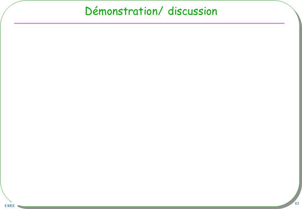 ESIEE 63 Démonstration/ discussion