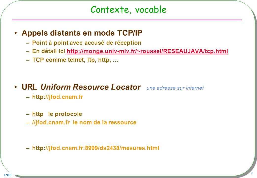 ESIEE 7 Contexte, vocable Appels distants en mode TCP/IP –Point à point avec accusé de réception –En détail ici http://monge.univ-mlv.fr/~roussel/RESE