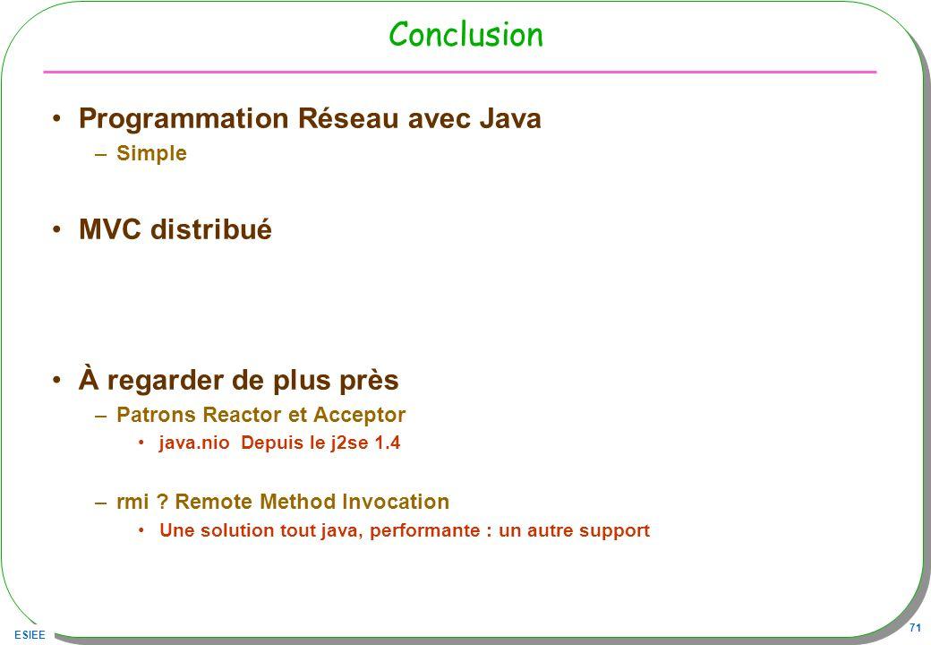 ESIEE 71 Conclusion Programmation Réseau avec Java –Simple MVC distribué À regarder de plus près –Patrons Reactor et Acceptor java.nio Depuis le j2se