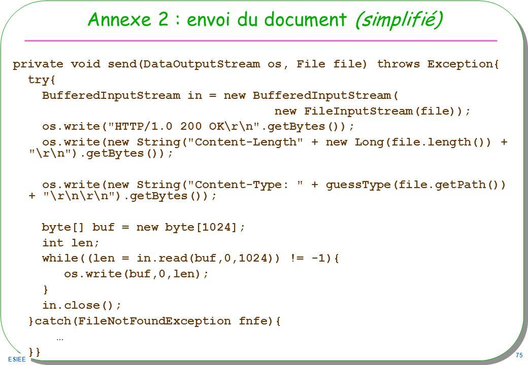 ESIEE 75 Annexe 2 : envoi du document (simplifié) private void send(DataOutputStream os, File file) throws Exception{ try{ BufferedInputStream in = ne