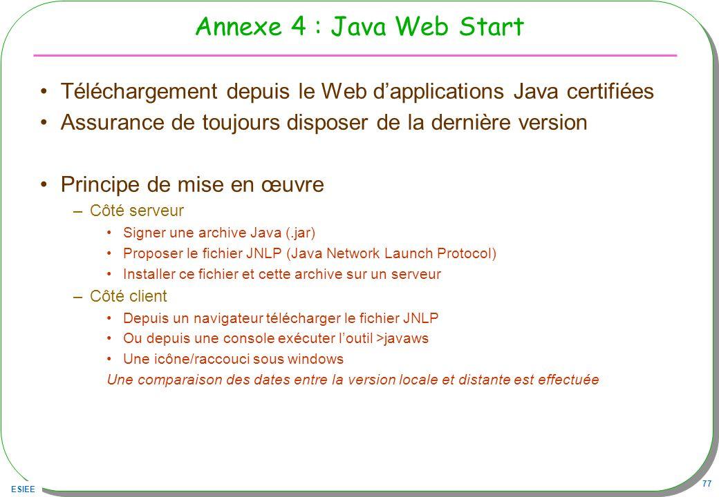 ESIEE 77 Annexe 4 : Java Web Start Téléchargement depuis le Web dapplications Java certifiées Assurance de toujours disposer de la dernière version Pr