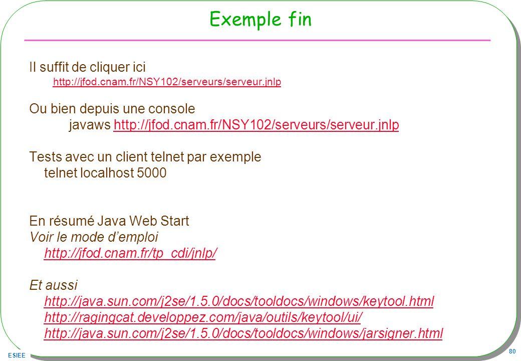 ESIEE 80 Exemple fin Il suffit de cliquer ici http://jfod.cnam.fr/NSY102/serveurs/serveur.jnlp Ou bien depuis une console javaws http://jfod.cnam.fr/N