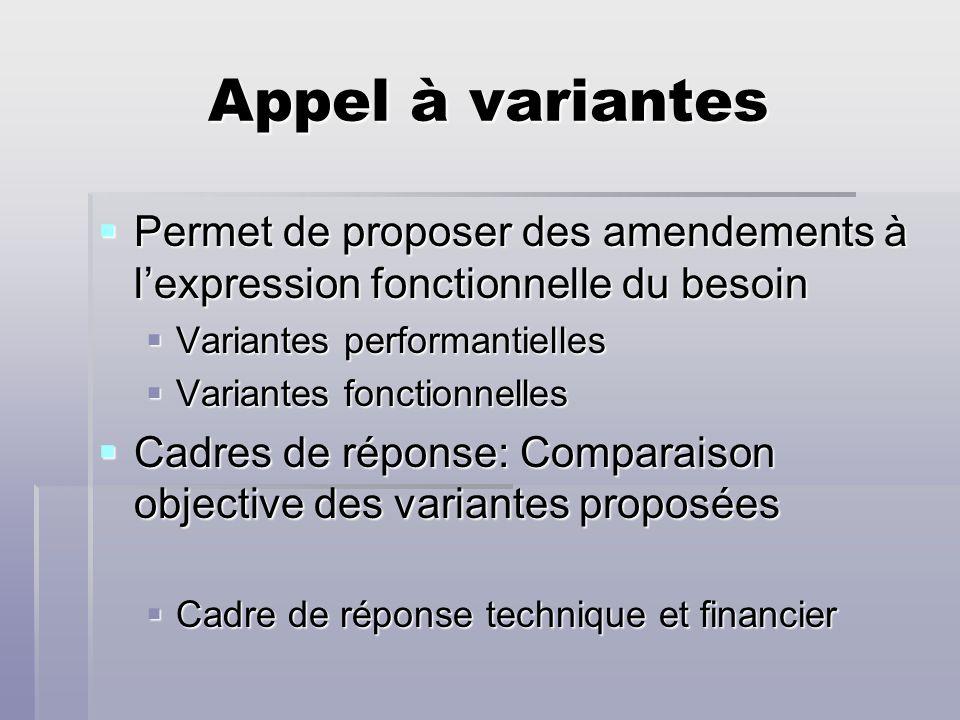 Appel à variantes Permet de proposer des amendements à lexpression fonctionnelle du besoin Permet de proposer des amendements à lexpression fonctionne