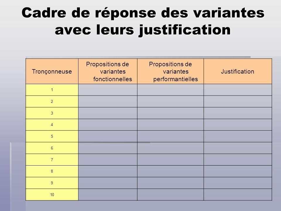 Cadre de réponse des variantes avec leurs justification Tronçonneuse Propositions de variantes fonctionnelles Propositions de variantes performantiell