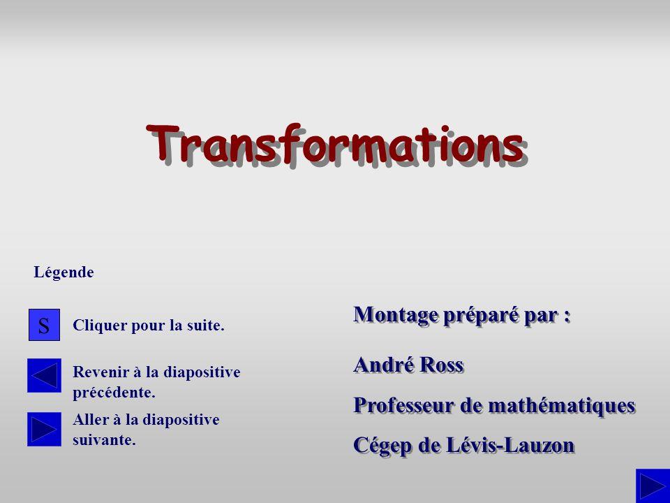 Montage préparé par : André Ross Professeur de mathématiques Cégep de Lévis-Lauzon André Ross Professeur de mathématiques Cégep de Lévis-Lauzon Transf