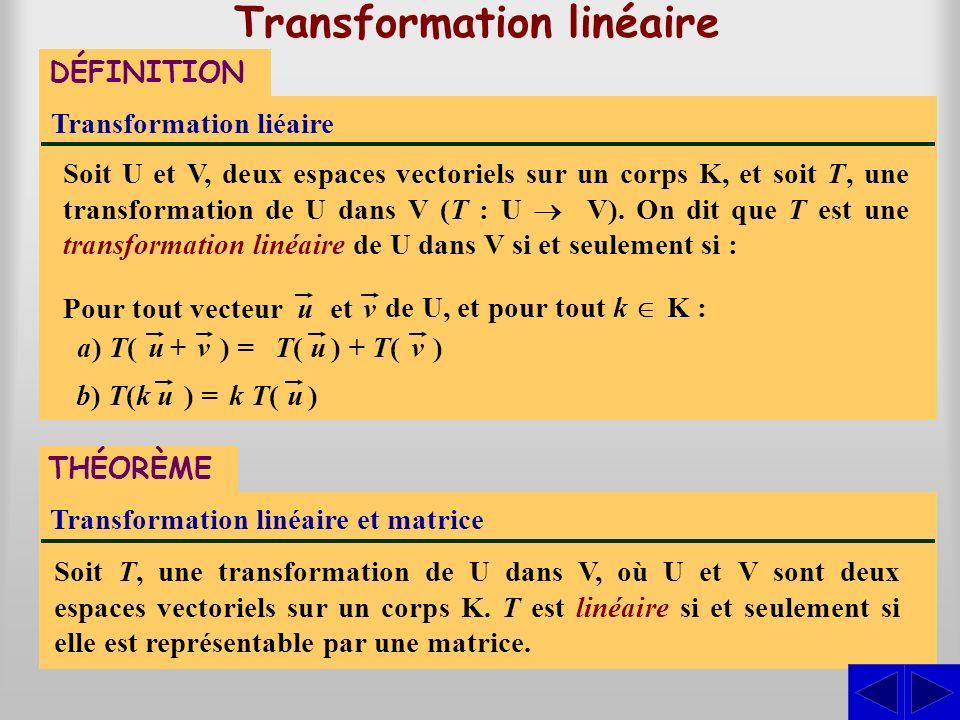de U, et pour tout k K : Transformation liéaire Soit U et V, deux espaces vectoriels sur un corps K, et soit T, une transformation de U dans V (T : U