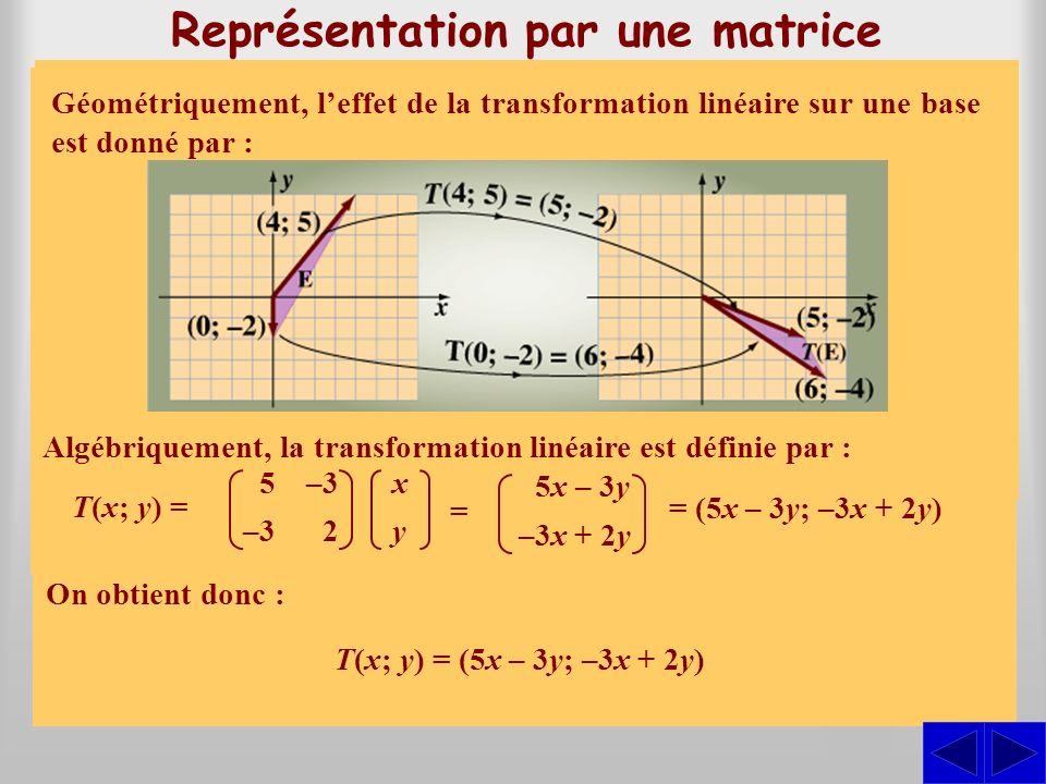 S SS Considérons la situation suivante : Représentation par une matrice Les vecteurs (0; –2) et (4; 5) forment une base de R 2, et limage de ces vecte
