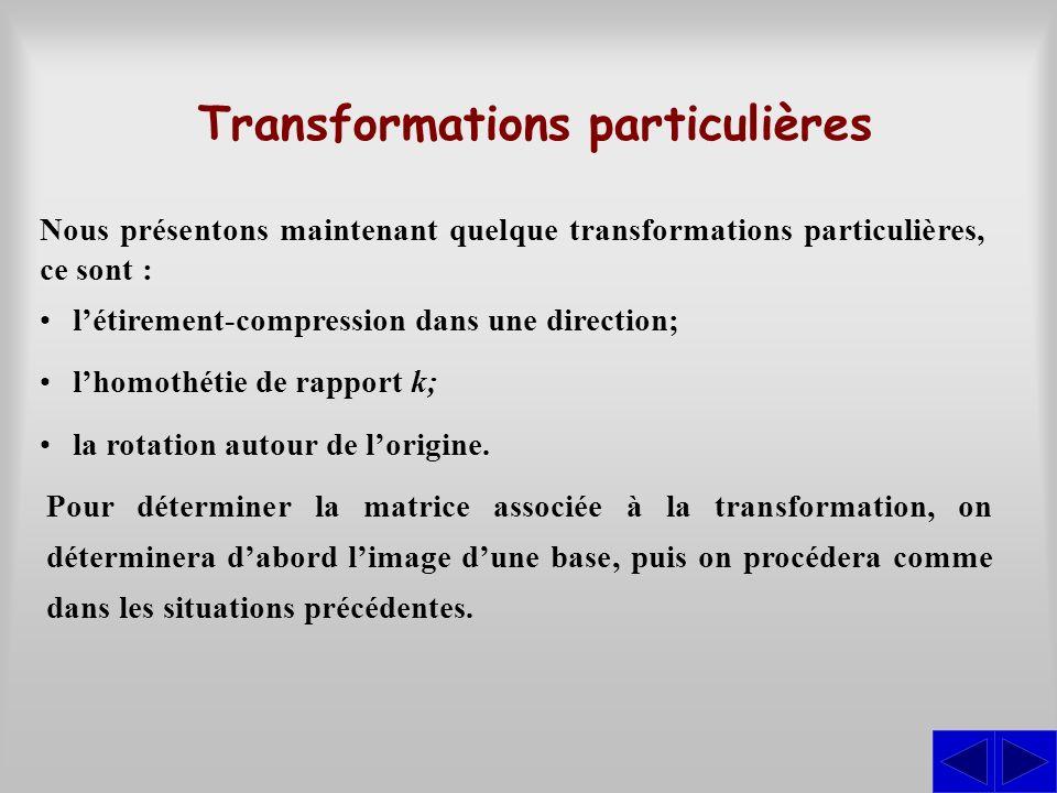 Nous présentons maintenant quelque transformations particulières, ce sont : Transformations particulières létirement-compression dans une direction; l