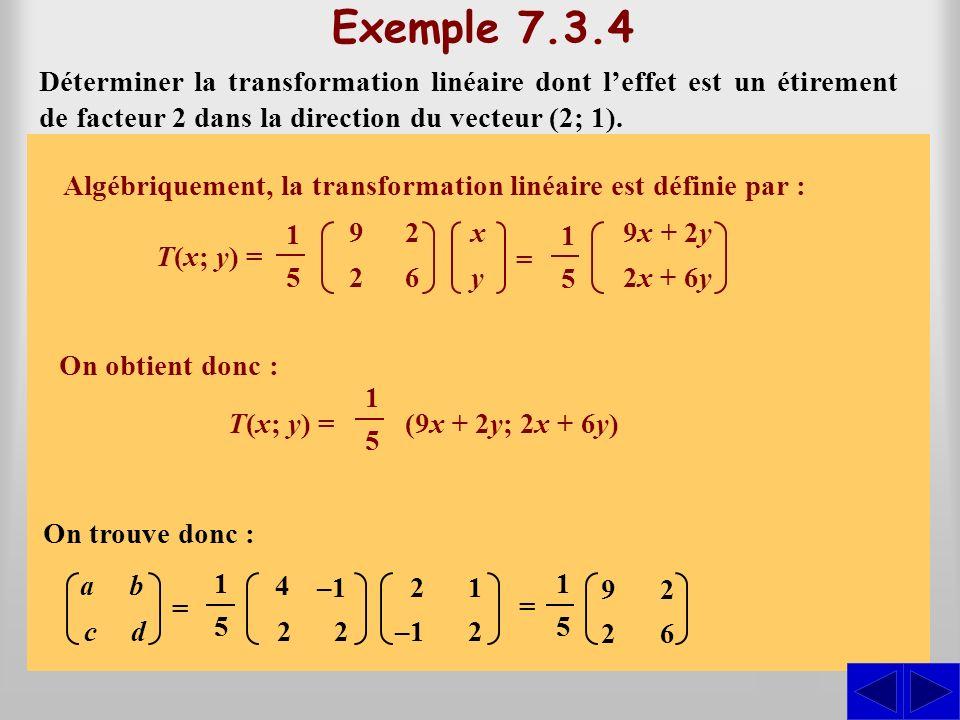 S SS Déterminer la transformation linéaire dont leffet est un étirement de facteur 2 dans la direction du vecteur (2; 1). Exemple 7.3.4 Les vecteurs (