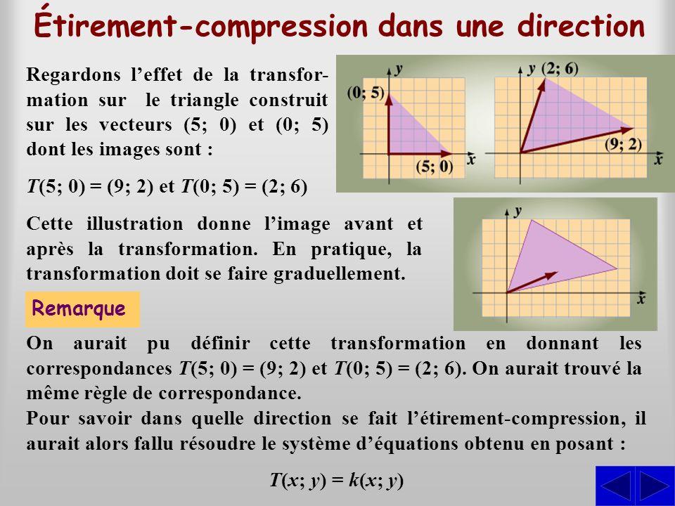 Étirement-compression dans une direction Regardons leffet de la transfor- mation sur le triangle construit sur les vecteurs (5; 0) et (0; 5) dont les