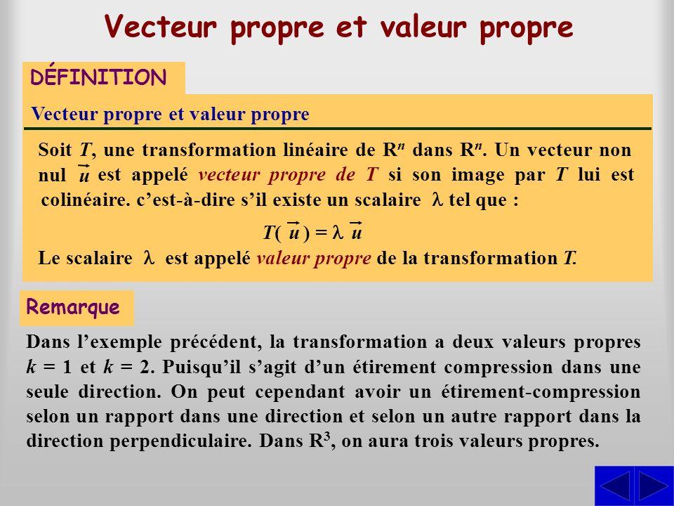 est appelé vecteur propre de T si son image par T lui est colinéaire. cest-à-dire sil existe un scalaire tel que : Soit T, une transformation linéaire