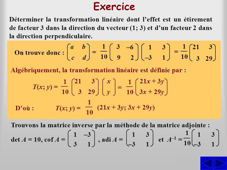 S S Déterminer la transformation linéaire dont leffet est un étirement de facteur 3 dans la direction du vecteur (1; 3) et dun facteur 2 dans la direc