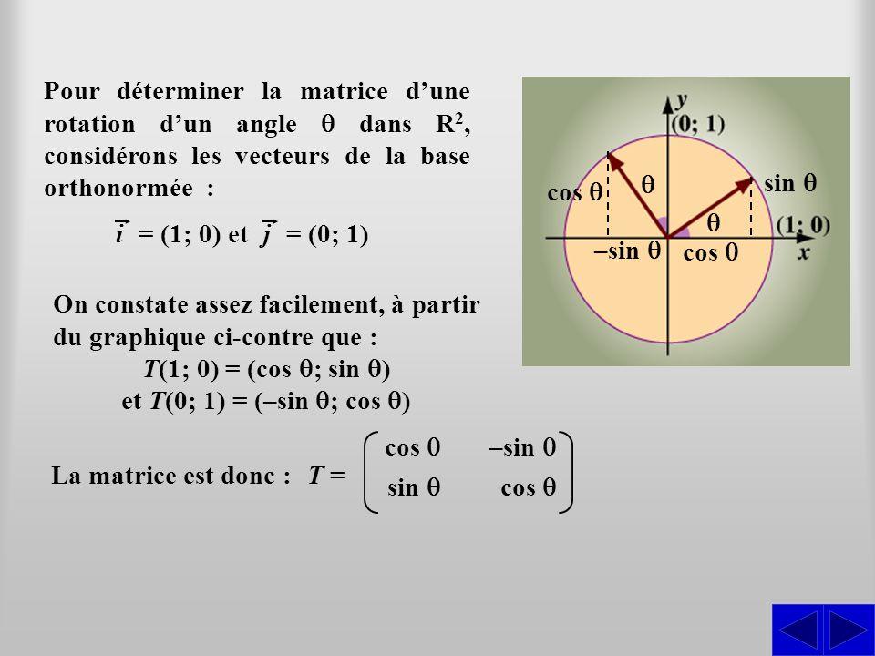 Pour déterminer la matrice dune rotation dun angle dans R2,R2, considérons les vecteurs de la base orthonormée : = (1; 0) et On constate assez facilem