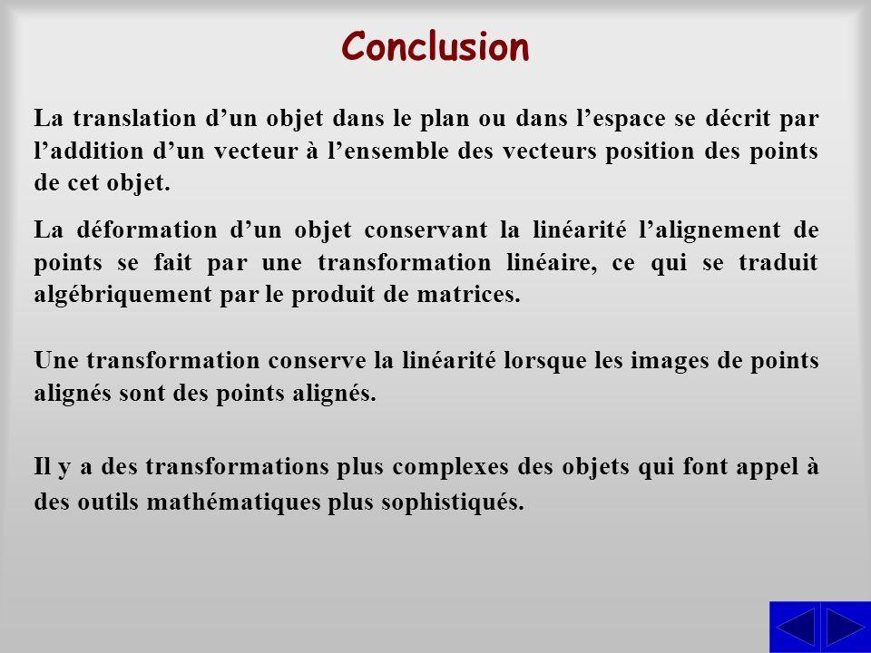 Conclusion La translation dun objet dans le plan ou dans lespace se décrit par laddition dun vecteur à lensemble des vecteurs position des points de c