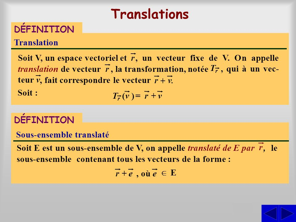, un vecteur fixe de V. On appelle translation de vecteur, qui à un vec- teur, la transformation, notée, le sous-ensemble contenant tous les vecteurs