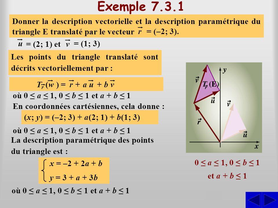Exemple 7.3.1 S Les points du triangle sont décrits vectoriellement par : (x; y) = a(2; 1) + b(1; 3) Donner la description vectorielle et la descripti