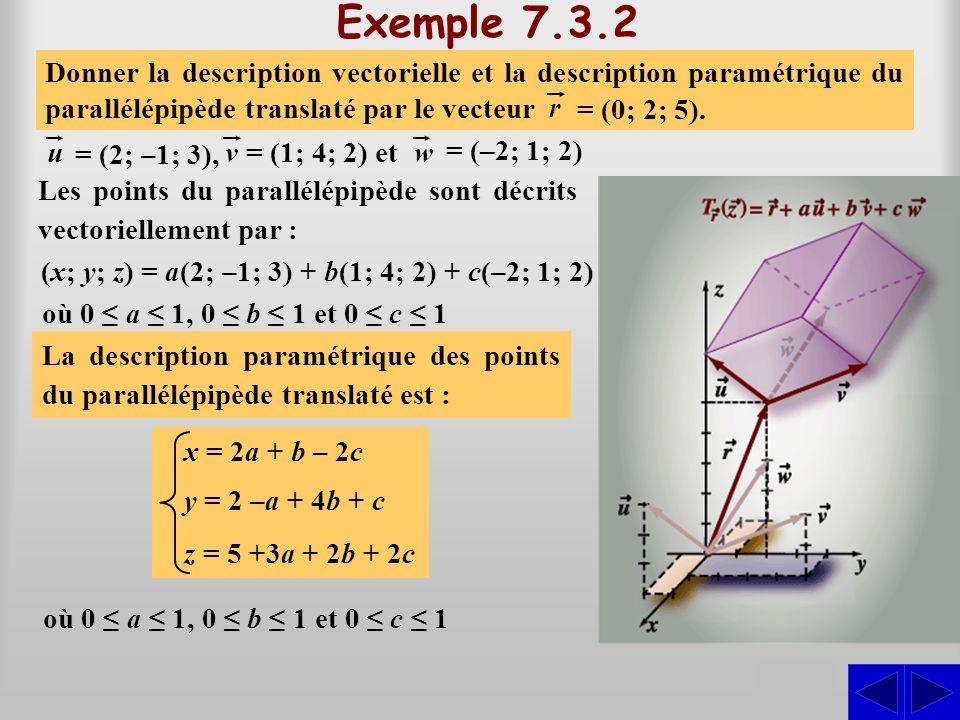 Exemple 7.3.2 S Les points du parallélépipède sont décrits vectoriellement par : (x; y; z) = a(2; –1; 3) + b(1; 4; 2) + c(–2; 1; 2) Donner la descript
