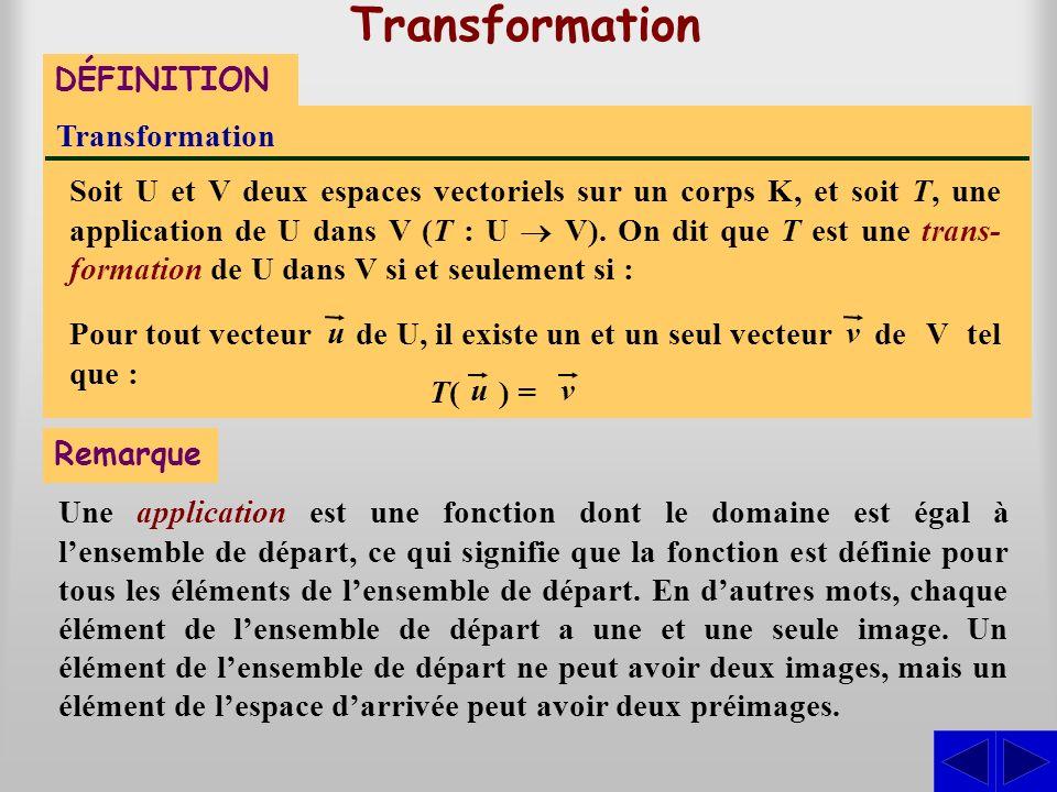 de V tel que : de U, il existe un et un seul vecteur Transformation Soit U et V deux espaces vectoriels sur un corps K, et soit T, une application de