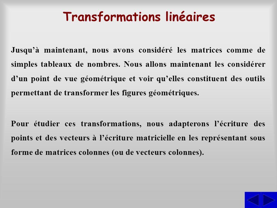 Transformations linéaires Jusquà maintenant, nous avons considéré les matrices comme de simples tableaux de nombres. Nous allons maintenant les consid
