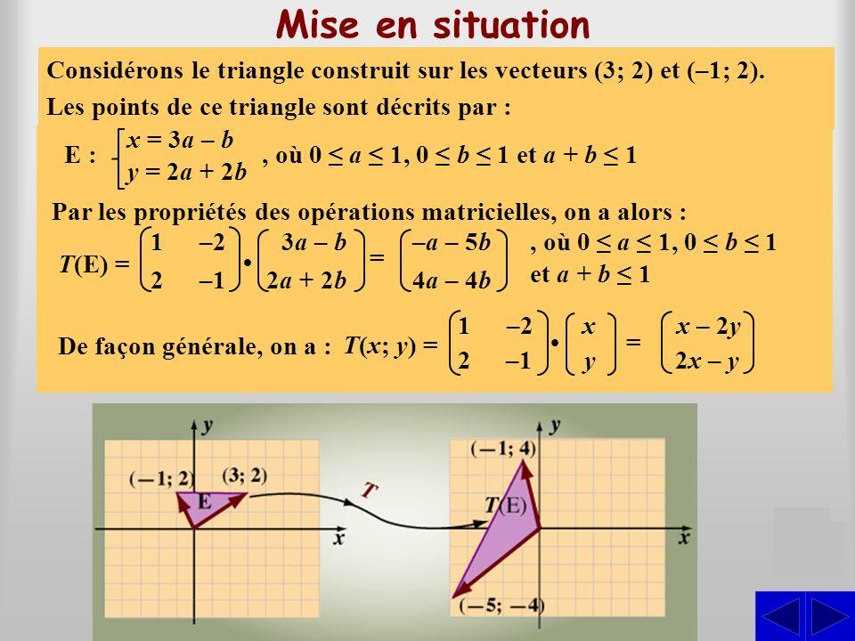 Limage de Considérons la fonction de R2 R2 dans R2 R2 définie par : T(x; y) = (x – 2y; 2x 2x – y)y) Mise en situation S On peut représenter les vecteu