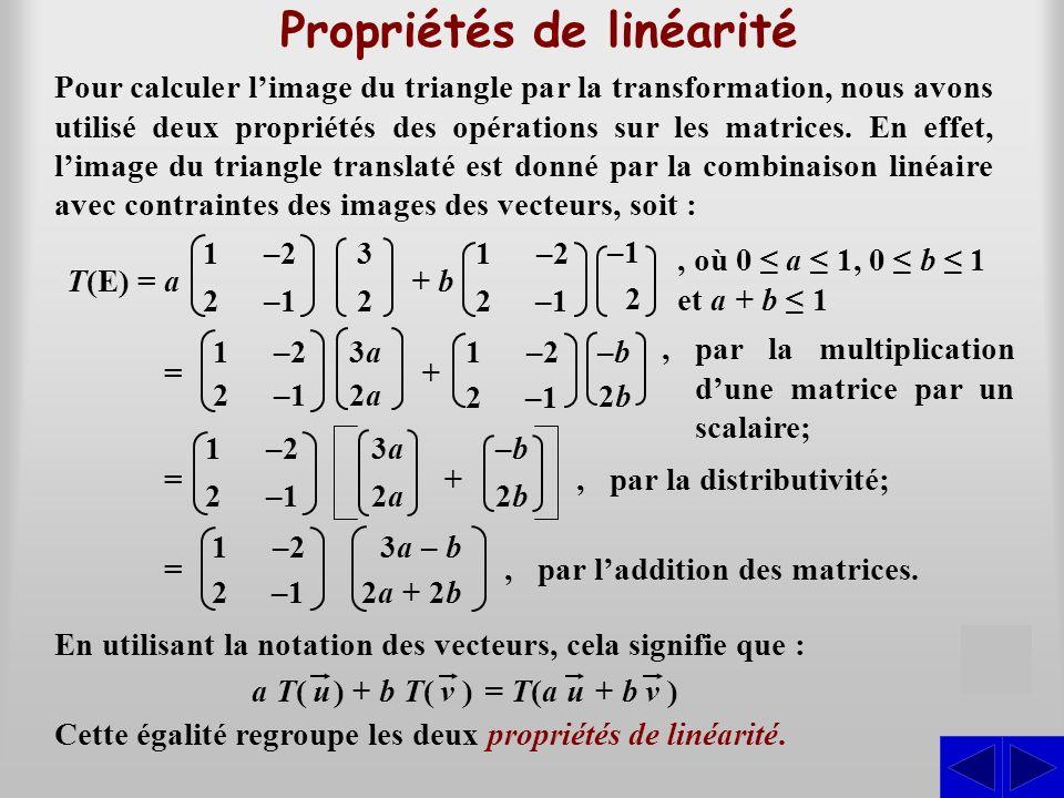 –23a3a1 –b–b –b–b 2b2b 2–12a2a + 2b2b 3a 3a – b 2a 2a + 2b2b Propriétés de linéarité SSSS Pour calculer limage du triangle par la transformation, nous