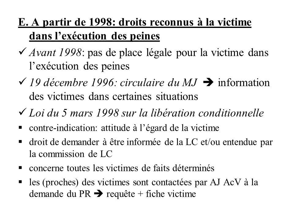 E. A partir de 1998: droits reconnus à la victime dans lexécution des peines Avant 1998: pas de place légale pour la victime dans lexécution des peine