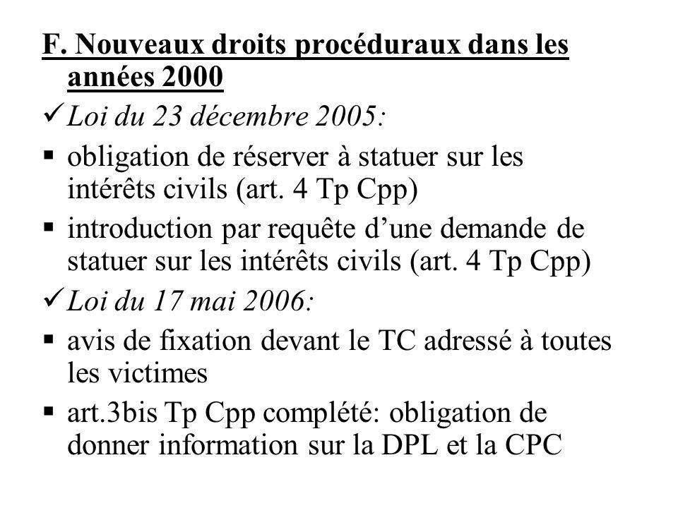 F. Nouveaux droits procéduraux dans les années 2000 Loi du 23 décembre 2005: obligation de réserver à statuer sur les intérêts civils (art. 4 Tp Cpp)