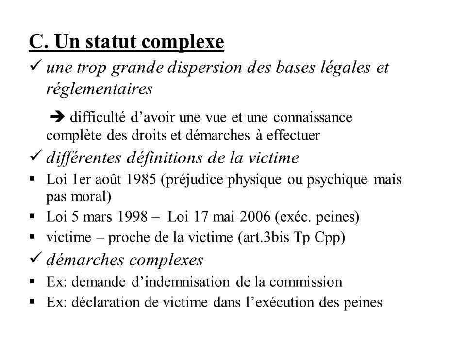 C. Un statut complexe une trop grande dispersion des bases légales et réglementaires difficulté davoir une vue et une connaissance complète des droits