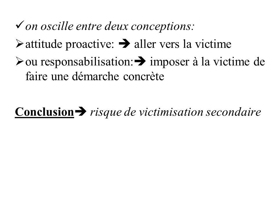 on oscille entre deux conceptions: attitude proactive: aller vers la victime ou responsabilisation: imposer à la victime de faire une démarche concrète Conclusion risque de victimisation secondaire