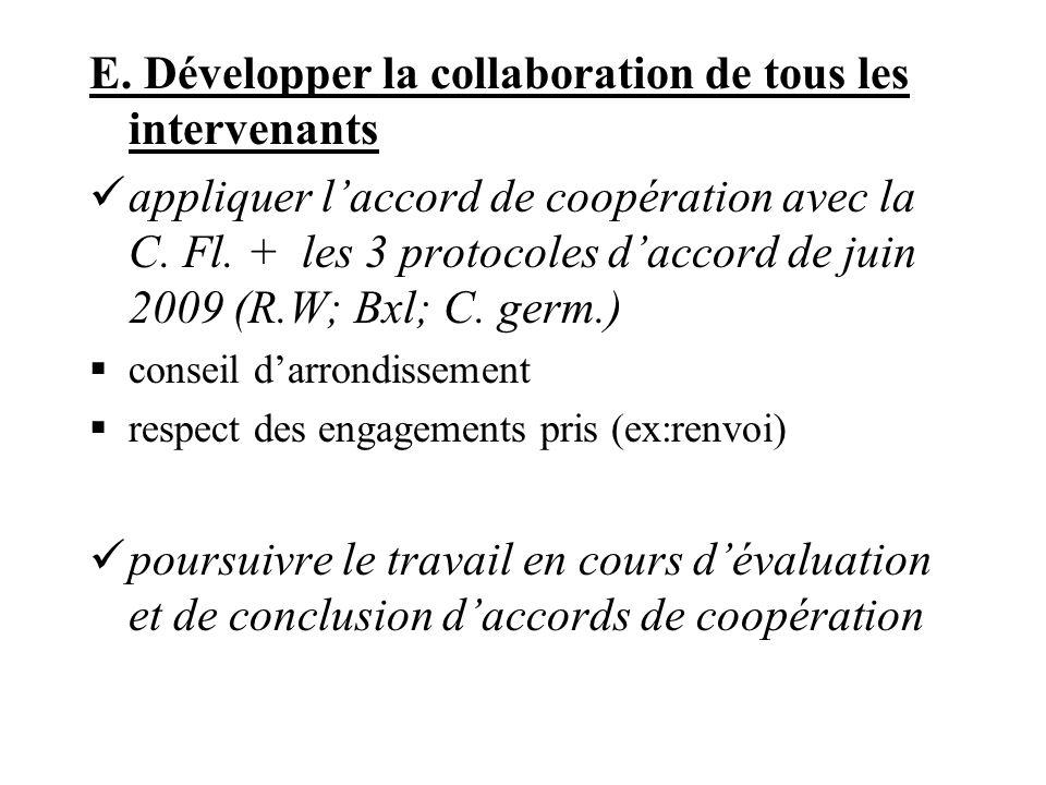 E. Développer la collaboration de tous les intervenants appliquer laccord de coopération avec la C.