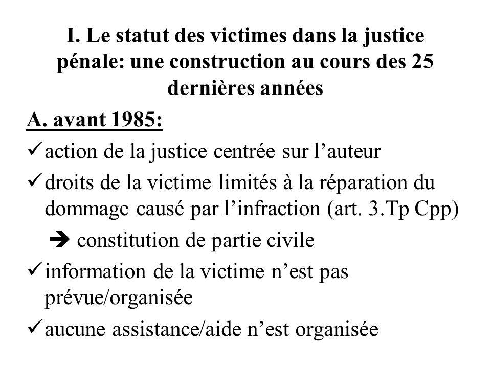 I. Le statut des victimes dans la justice pénale: une construction au cours des 25 dernières années A. avant 1985: action de la justice centrée sur la