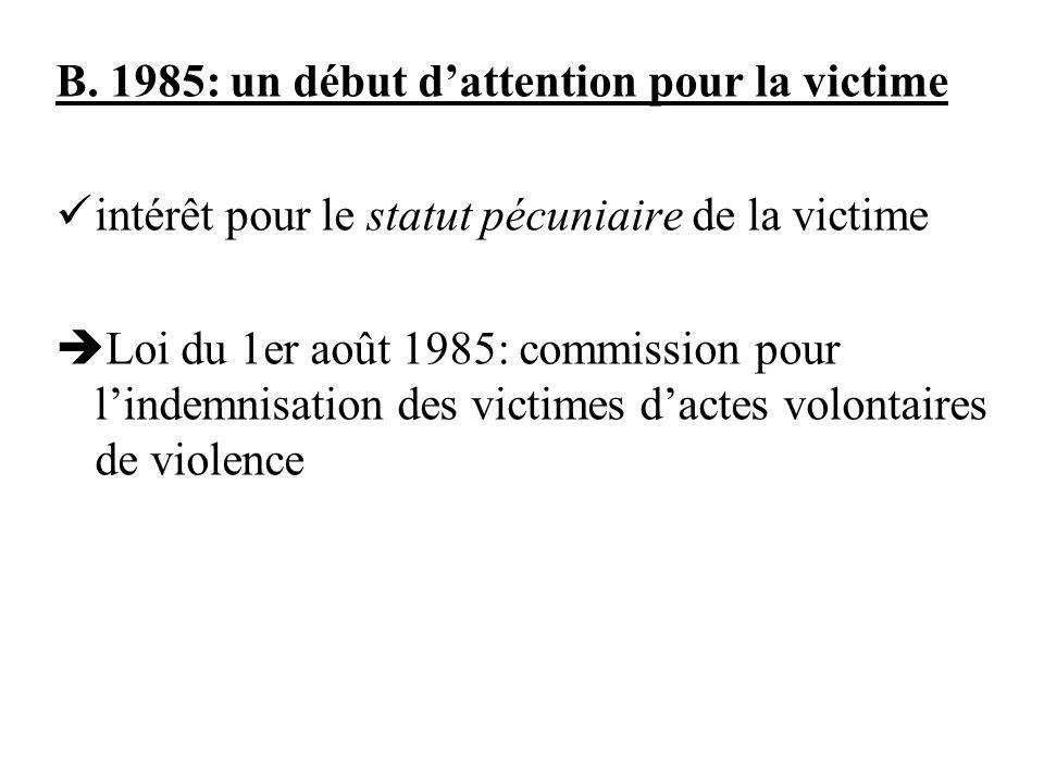 B. 1985: un début dattention pour la victime intérêt pour le statut pécuniaire de la victime Loi du 1er août 1985: commission pour lindemnisation des