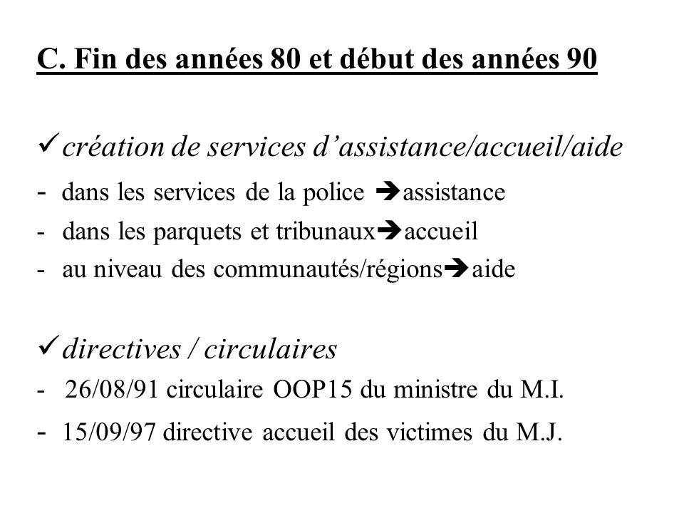 C. Fin des années 80 et début des années 90 création de services dassistance/accueil/aide - dans les services de la police assistance -dans les parque