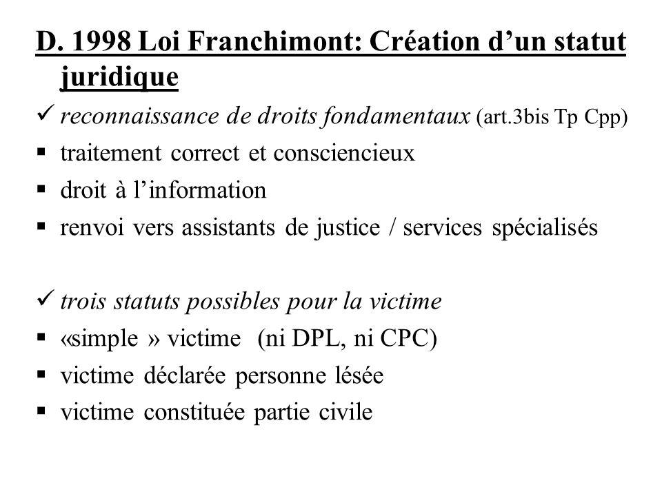 D. 1998 Loi Franchimont: Création dun statut juridique reconnaissance de droits fondamentaux (art.3bis Tp Cpp) traitement correct et consciencieux dro