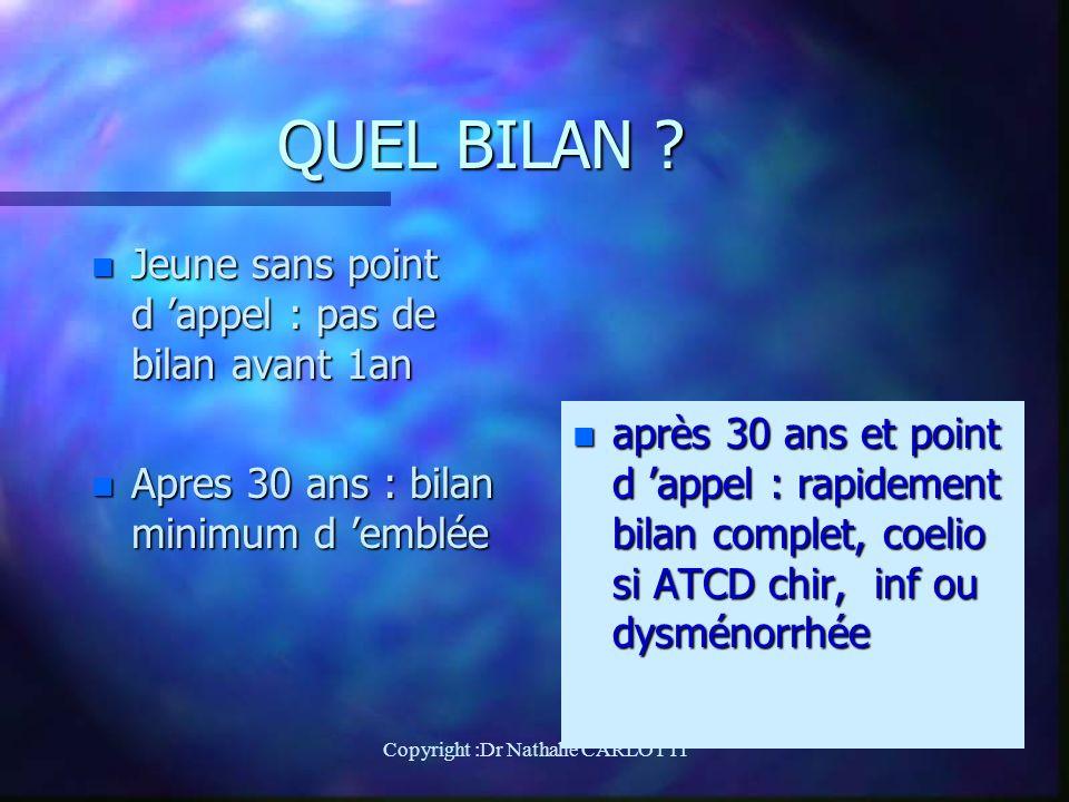 QUEL BILAN .