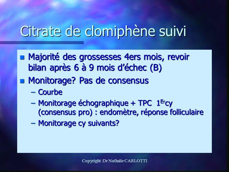 Citrate de clomiphène suivi n Majorité des grossesses 4ers mois, revoir bilan après 6 à 9 mois déchec (B) n Monitorage.