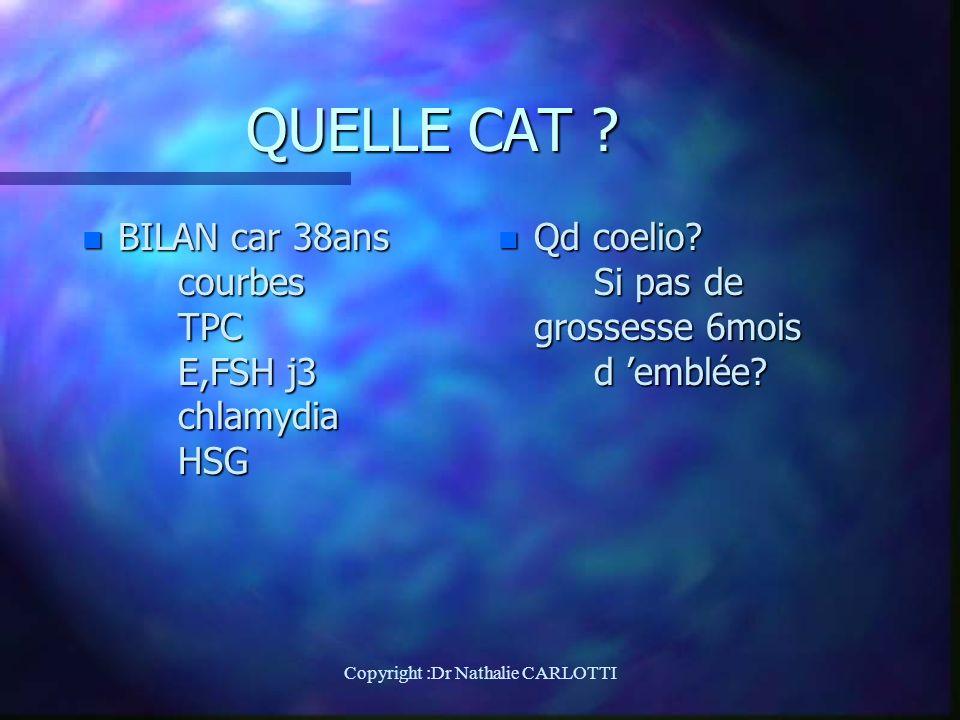 QUELLE CAT .n BILAN car 38ans courbes TPC E,FSH j3 chlamydia HSG n Qd coelio.