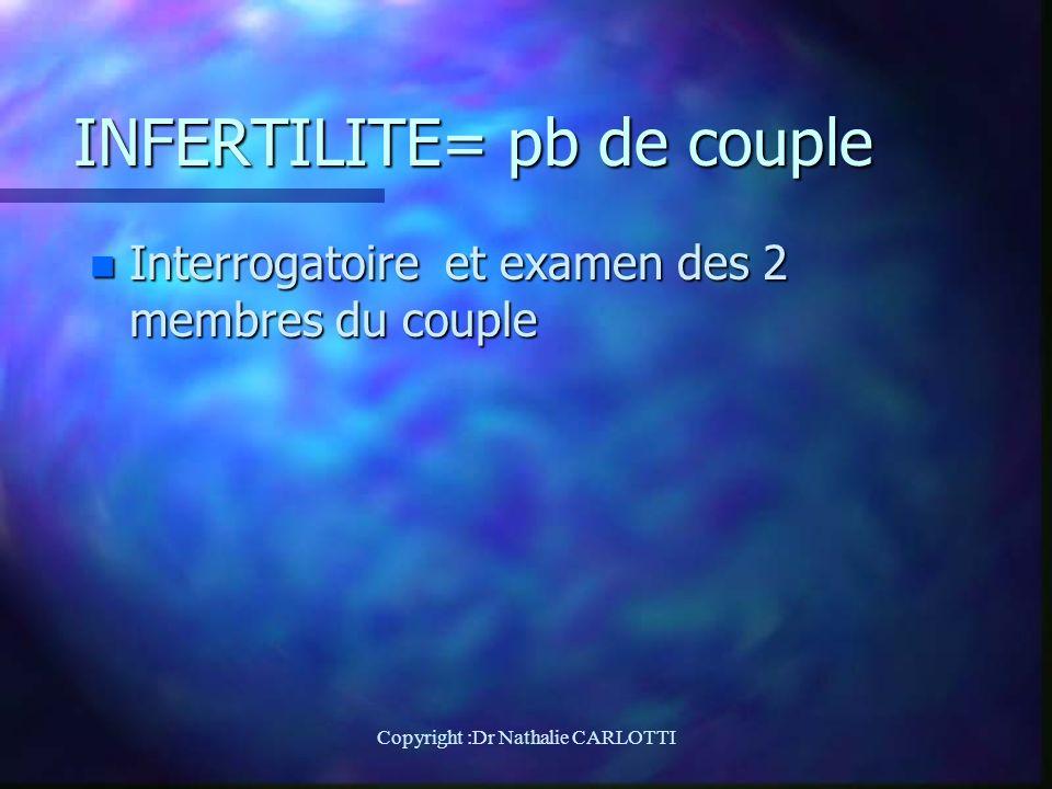 INFERTILITE= pb de couple n Interrogatoire et examen des 2 membres du couple Copyright :Dr Nathalie CARLOTTI