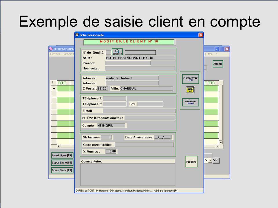 Exemple de saisie client en compte