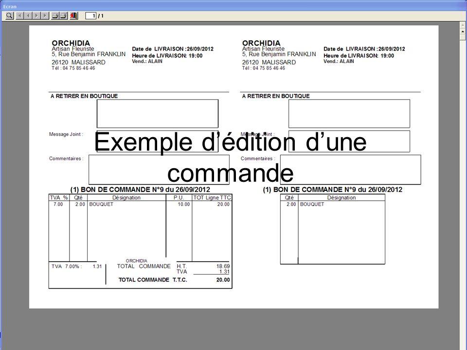 Exemple dédition dune commande