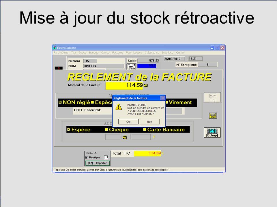Mise à jour du stock rétroactive