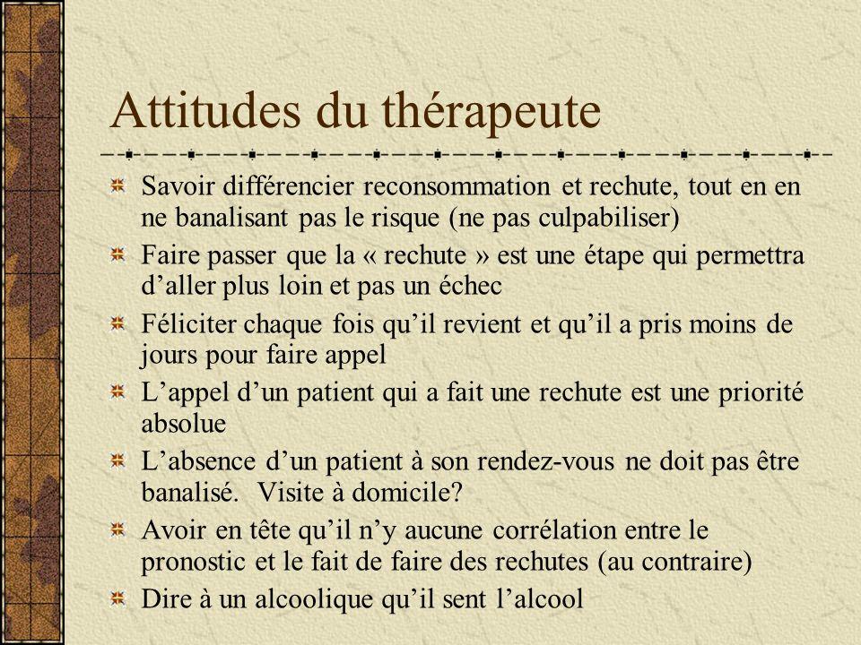 Attitudes du thérapeute Savoir différencier reconsommation et rechute, tout en en ne banalisant pas le risque (ne pas culpabiliser) Faire passer que l